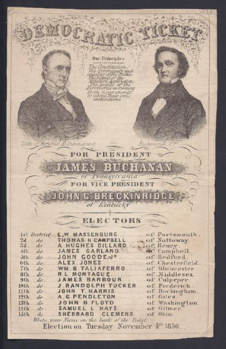 1856 USA Democratic Party Nomination Ticket James Buchanan & John Breckinridge